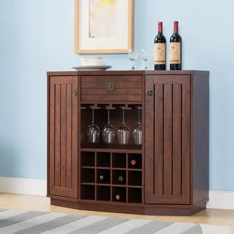 Furniture of America Adley Rustic Vintage Walnut Multi-storage Wine Storage Cabinet