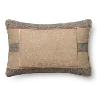 Woven Beige Embroidered Linen/ Cotton 13 x 21 Throw Pillow