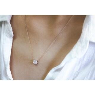 Annello by Kobelli 10k White Gold 1/4ct TDW Pillow Cluster Diamond Pendant