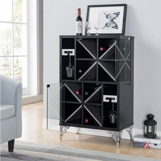 Furniture of America Kasso Modern Black 2-door Wine Cabinet