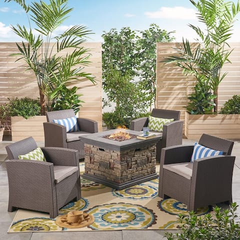 Rosedale Outdoor 4-Seater Wicker Print Club Chair Chat Set with Fire Pit by Christopher Knight Home