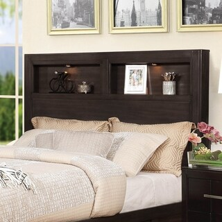 Furniture of America Morrow Bookcase Headboard with LED Lighting