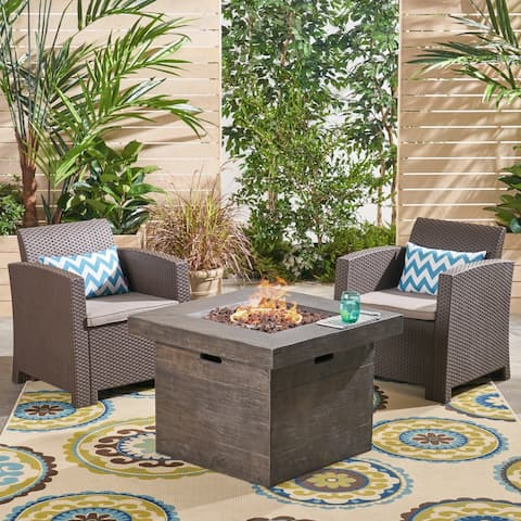 Bedrock Outdoor 2-Seater Wicker Print Club Chair Chat Set with Fire Pit by Christopher Knight Home