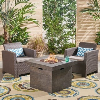 Bedrock Outdoor 2-Seater Wicker Club Chair Chat Set with Fire Pit by Christopher Knight Home