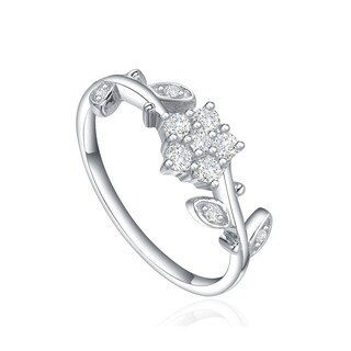 Star Harvest Fashion ring with AAA High Quality Cubic Zircon Stones Twin Flower Leaf Engagement Ring Size 7, Rings for Couples