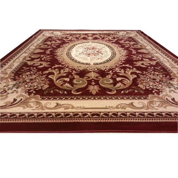 Ordinaire Rug Tycoon Red/Beige Wool Round Traditional Oriental Rug   8u0026#x27; ...