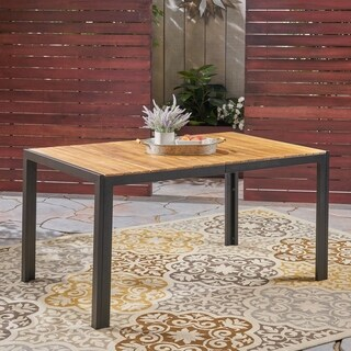 "Pavillion Outdoor 59"" Acacia Wood and Iron Dining Table by Christopher Knight Home"