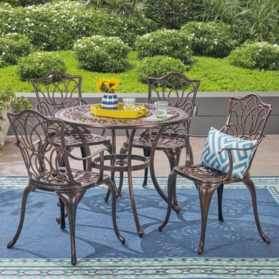 Tucson Outdoor Round Cast Aluminum Dining Table by Christopher Knight Home