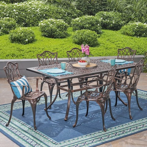 Tucson Outdoor Rectangular Cast Aluminum Dining Table by Christopher Knight Home