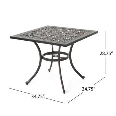 """Tucson Outdoor Square Cast Aluminum Dining Table (Table Only) by Christopher Knight Home - 34.75""""D x 34.75""""W x 28.75""""H"""