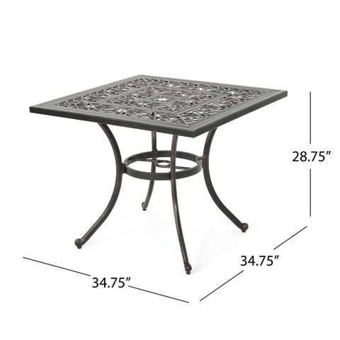 "Tucson Outdoor Square Cast Aluminum Dining Table (Table Only) by Christopher Knight Home - 34.75""D x 34.75""W x 28.75""H"