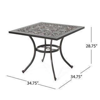 """Link to Tucson Outdoor Square Cast Aluminum Dining Table (Table Only) by Christopher Knight Home - 34.75""""D x 34.75""""W x 28.75""""H Similar Items in Home Theater"""