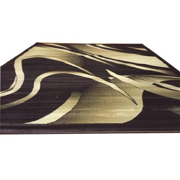 "Rug Tycoon Abstract Modern Contemporary Black Rug - 2'7""x9'10""rectangular runner"