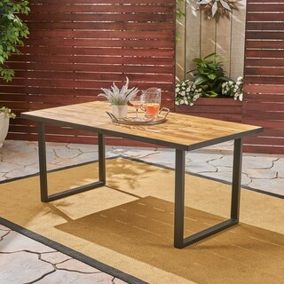 """Kyston Outdoor 70"""" Acacia Wood and Iron Dining Table by Christopher Knight Home"""