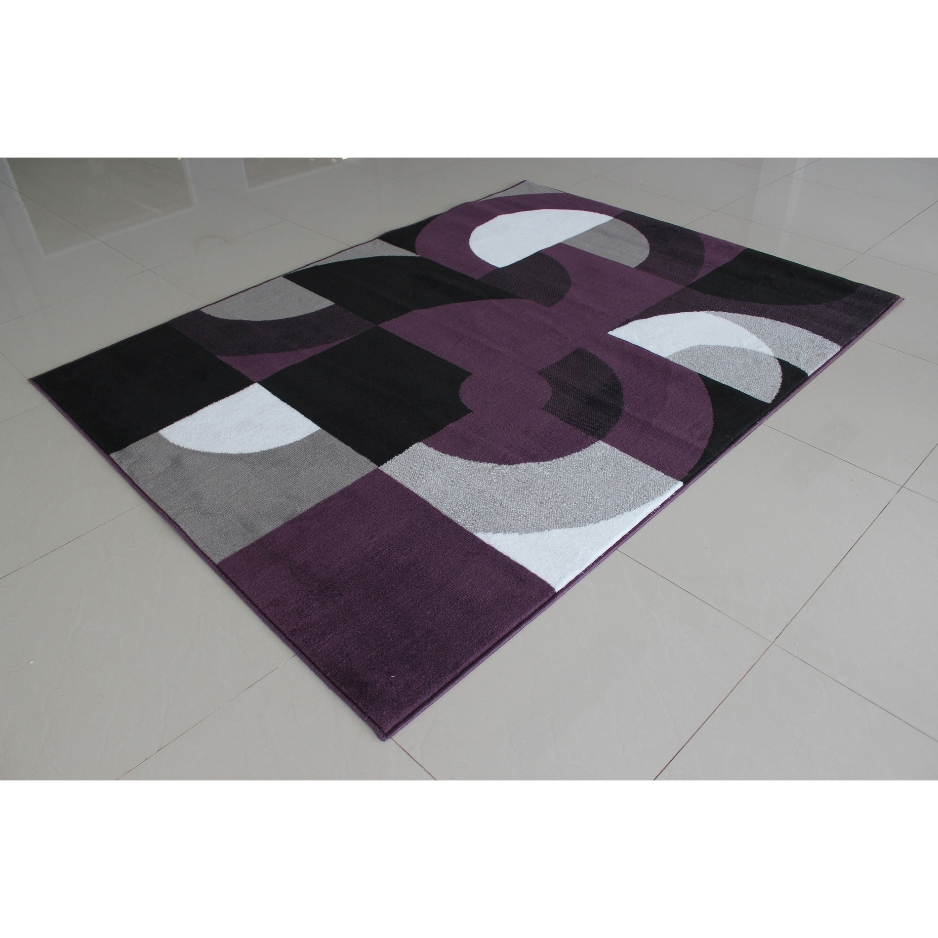 Abstract Modern Contemporary Purple Rug