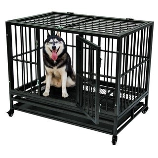 "42"" Heavy Duty Metal Dog Cage Crate Pet Trolley with Wheel Tray"