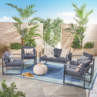 Navan Outdoor 6-Seater Aluminum Chat Set by Christopher Knight Home