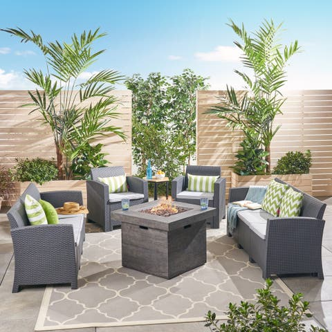 Jennings Outdoor 8-Seater Wicker Print Chat Set with Fire Pit by Christopher Knight Home