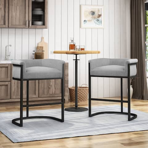 Modern Wide Bucket Upholstered Barstool (Set of 2) by Christopher Knight Home