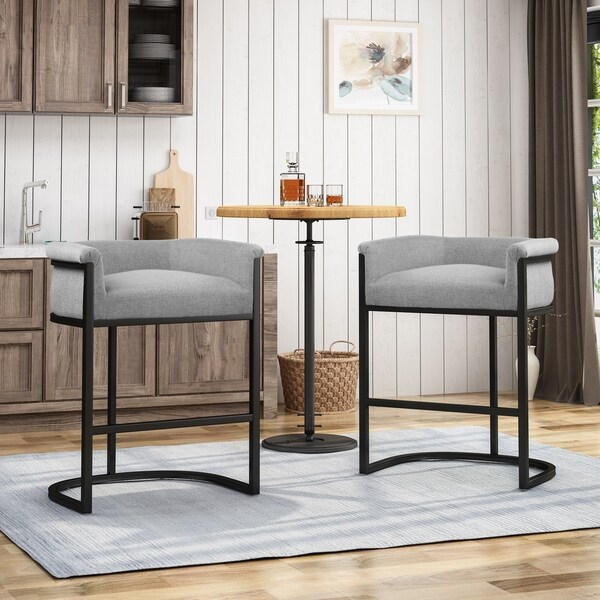 Modern Wide Bucket Upholstered Barstool (Set of 2) by Christopher Knight Home. Opens flyout.