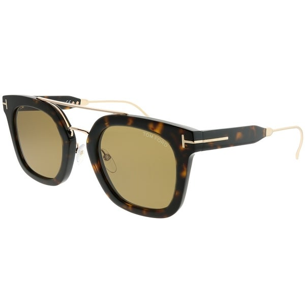 f56c2bd0c3d Tom Ford Square TF 541 Alex 52E Unisex Dark Havana Frame Brown Lens  Sunglasses