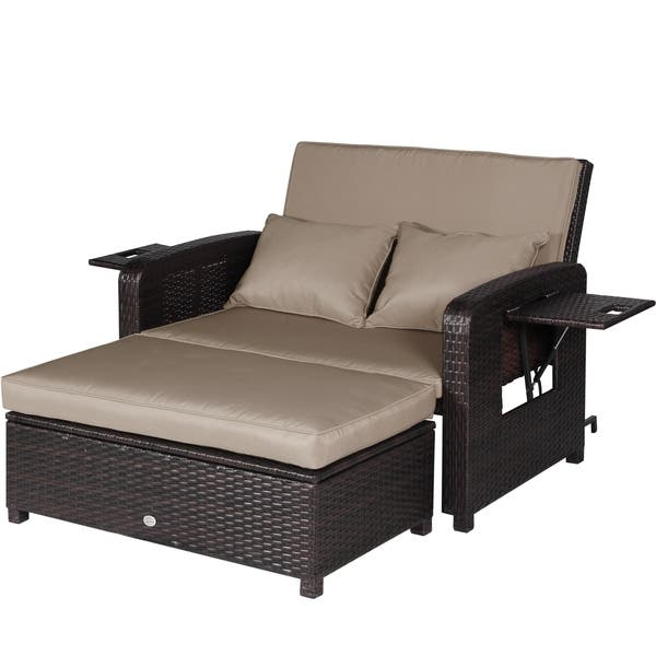 Shop Outdoor Loveseat Recliner 2 Piece Rattan Resin Storage ...