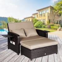 Outdoor Loveseat Recliner 2 Piece Rattan Resin Storage Arm Ergonomic Comfortable Modern Easy Assembly Brown Set