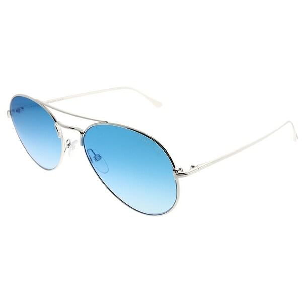 c6e6595c60674 Tom Ford Aviator TF 551 Ace 18X Unisex Shiny Rhodium Frame Blue Mirror  Gradient Lens Sunglasses