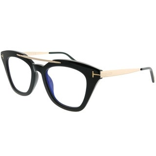 Tom Ford Square TF 575 Anna 001 Unisex Shiny Black Frame Blue Block Clear Lens Sunglasses