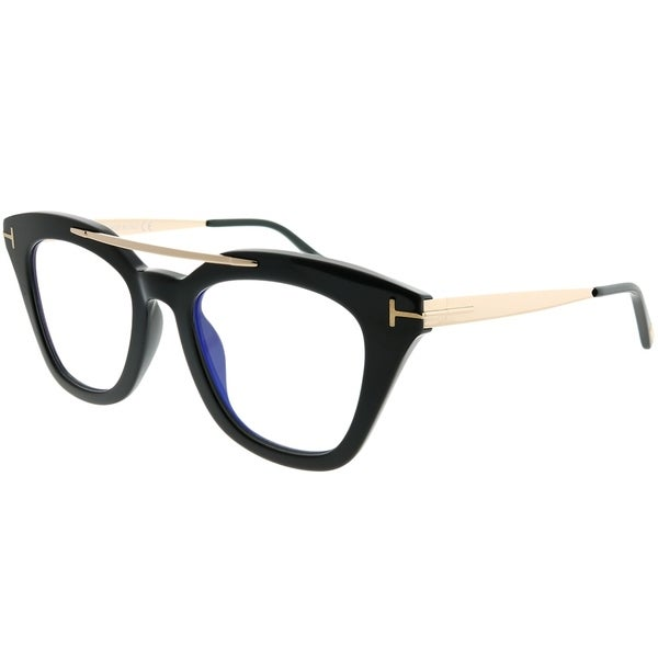 49cc7258b4 Tom Ford Square TF 575 Anna 001 Unisex Shiny Black Frame Blue Block Clear  Lens Sunglasses