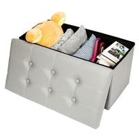 PVC Leather Practical Footstool Storage Ottoman Bench