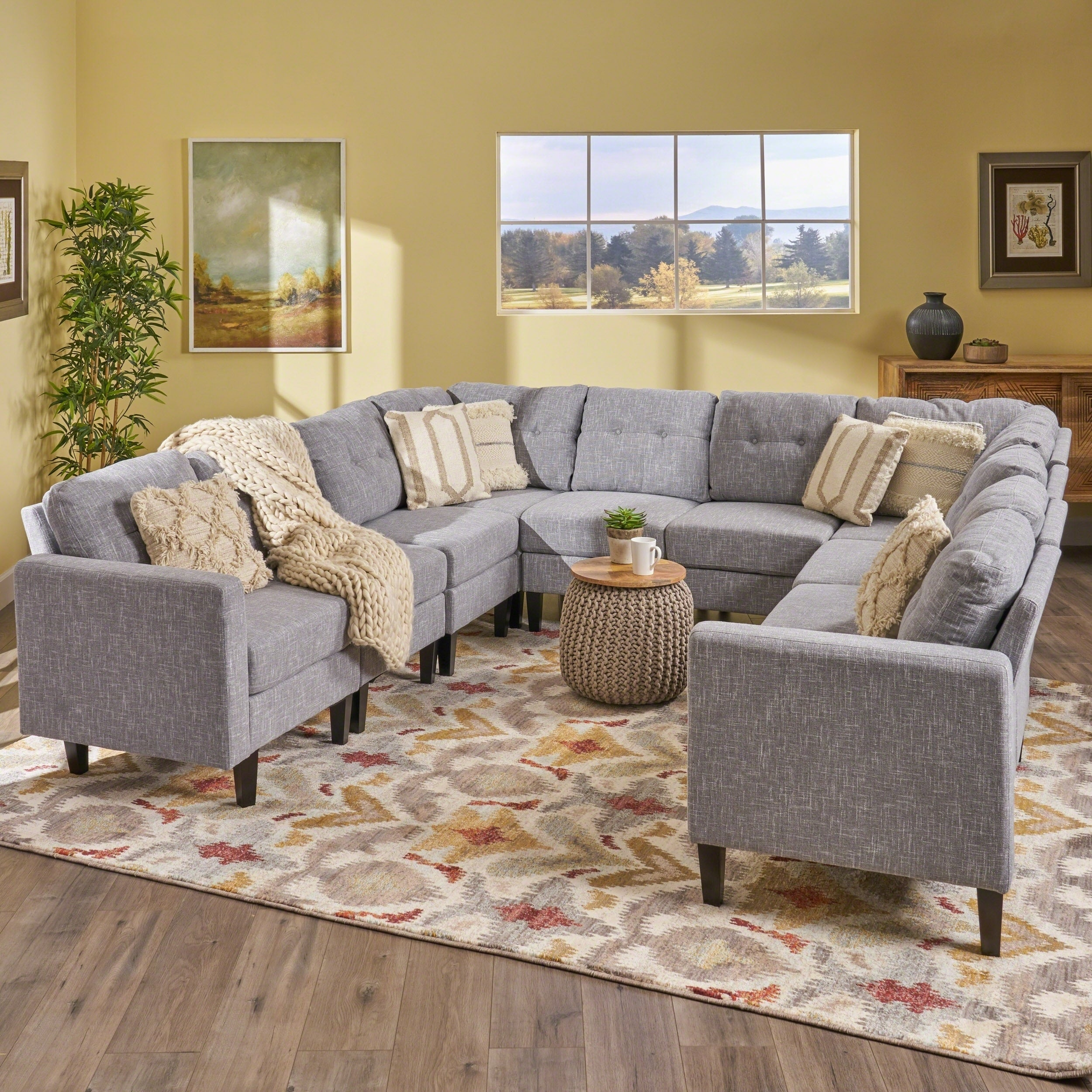 Delilah Mid Century Modern U Shaped Sectional Sofa Set Set 0f 10 By Christopher Knight Home