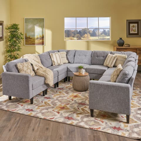 Delilah Mid Century Modern U-Shaped Sectional Sofa Set(Set 0f 10) by Christopher Knight Home