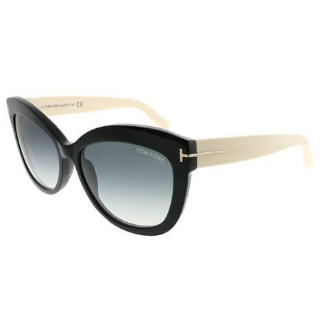 Tom Ford Cat-Eye TF 524 Alistair 05B Unisex Black and Ivory Frame Grey Gradient Lens Sunglasses