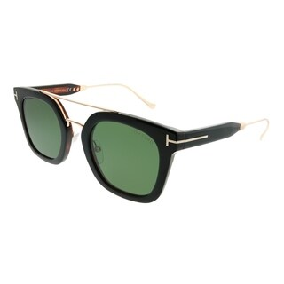 Tom Ford Square TF 541 Alex 05N Unisex Black Frame Green Lens Sunglasses