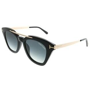 Tom Ford Square TF 575 Anna 01B Unisex Shiny Black Frame Grey Gradient Lens Sunglasses