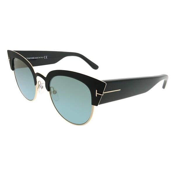 78a5d6ca9b3b9 Tom Ford Cat-Eye TF 607 Alexandra 05X Women Black Gold Frame Blue Mirror  Lens