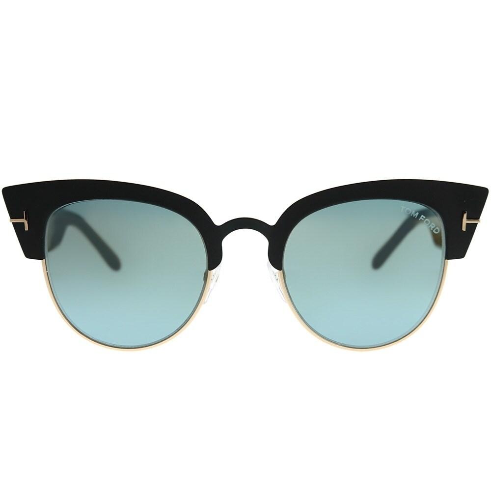 ccfb46fad3a Women s Accessories Tom Ford Alexandra TF 607 05X Black Gold Cat-Eye  Sunglasses Blue Mirror Lens ...