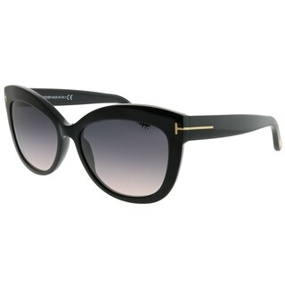 Tom Ford Cat-Eye TF 524 Alistair 01B Unisex Shiny Black Frame Grey Gradient Lens Sunglasses