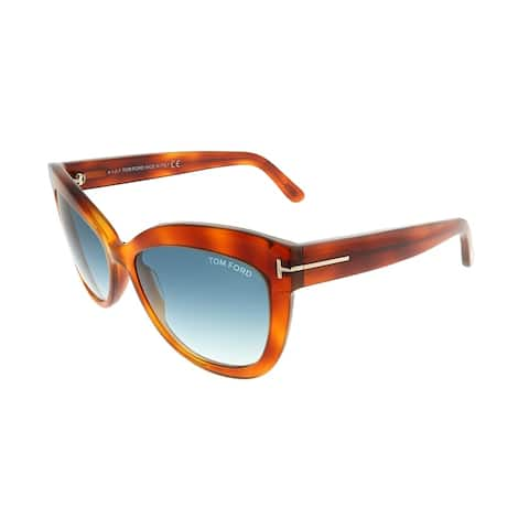 Tom Ford Cat-Eye TF 524 Alistair 53W Unisex Blonde Havana Frame Blue Gradient Lens Sunglasses