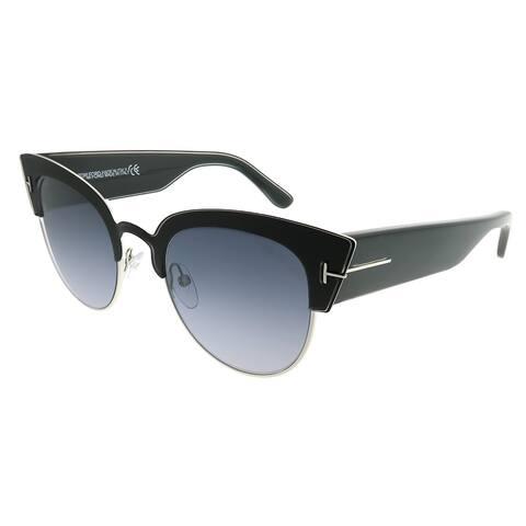Tom Ford Cat-Eye TF 607 Alexandra 05C Women Matte Black Silver Frame Grey Mirror Lens Sunglasses