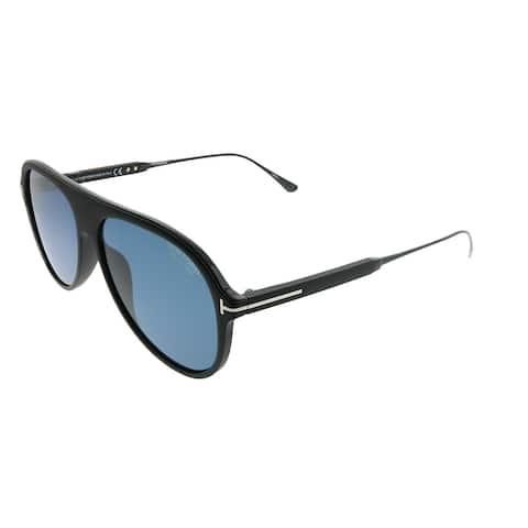 Tom Ford Aviator TF 624 Nicholai 02D Unisex Matte Black Frame Grey Polarized Lens Sunglasses