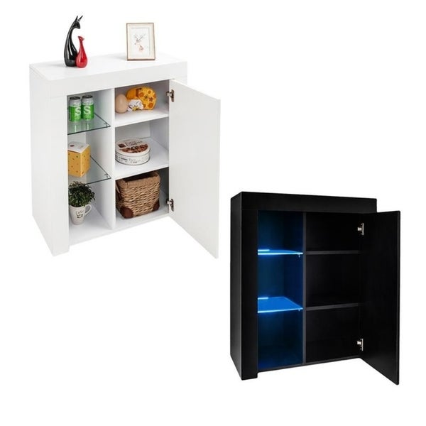 Shop Tv Sideboard Stand Buffet Storage Organzier Cabinet With Led