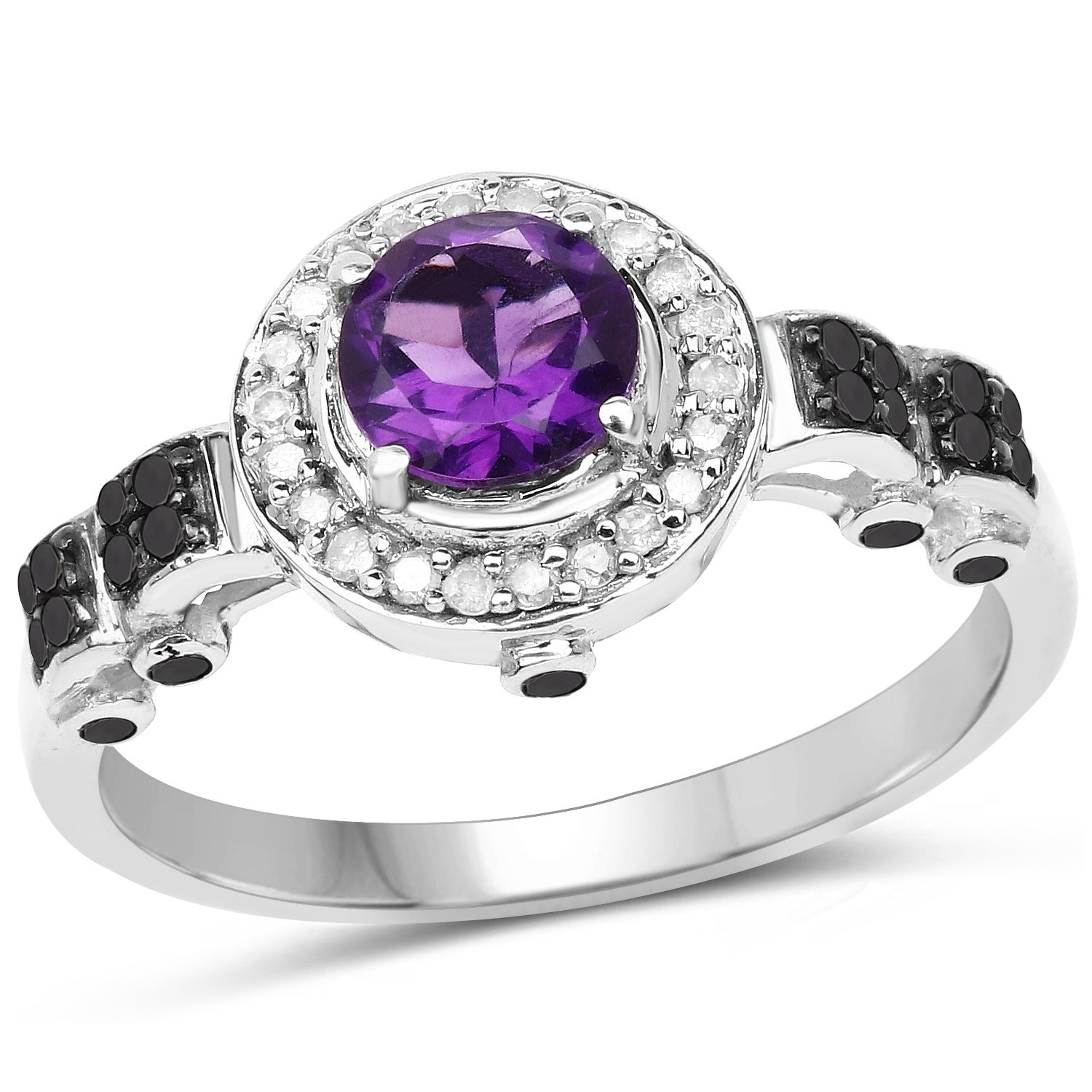 1 Ct Amethyst /& Diamond Round Ring .925 Sterling Silver