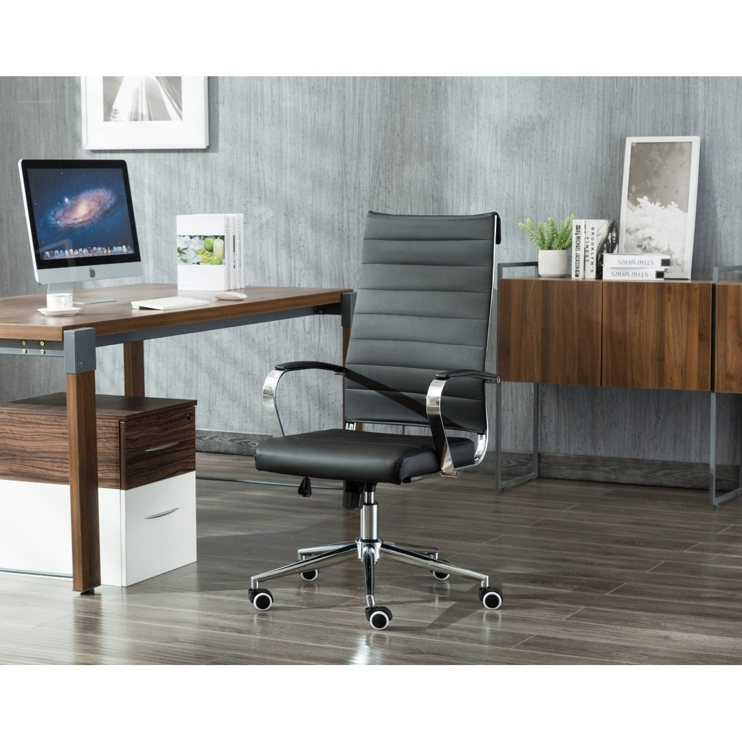Porthos Home Office Chair, Adjustable Height & PU Leather