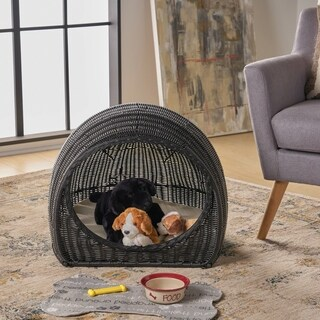 Elmdale Indoor Wicker Igloo Pet Bed with Cushion by Christopher Knight Home