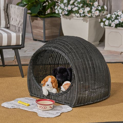 Rocky Outdoor Wicker Igloo Pet Bed with Cushion by Christopher Knight Home