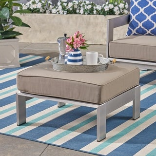Link to Cape Coral Cushioned Auminum Ottoman by Christopher Knight Home Similar Items in Outdoor Sofas, Chairs & Sectionals