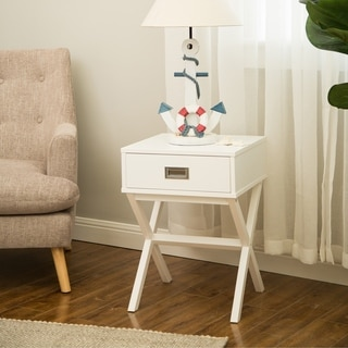 """Glitzhome Modern Shape X Side Table With Drawer, White - 16"""" x 22"""""""