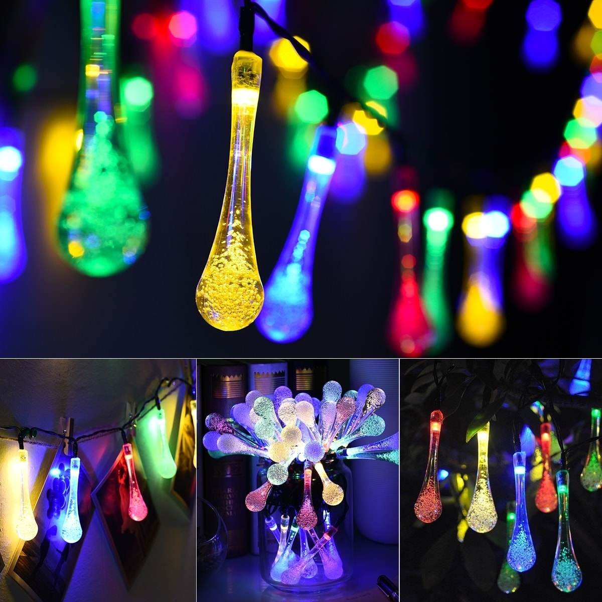 finest selection 6a6a7 15ad6 Solar Outdoor String Lights, 50 LED Water Drop Solar String Fairy  Waterproof Lights